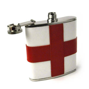 England Flag Deluxe Leather English St. George's Hip Flask Thumbnail 3