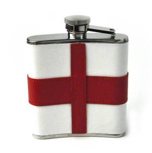 England Flag Deluxe Leather English St. George's Hip Flask Thumbnail 4