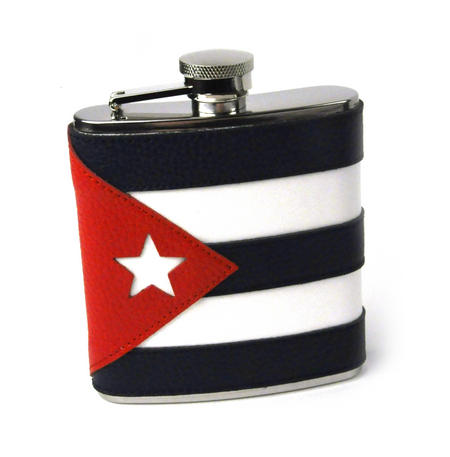 Cuban Flag Deluxe Leather Cuba Hip Flask