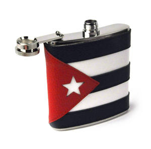 Cuban Flag Deluxe Leather Cuba Hip Flask Thumbnail 3