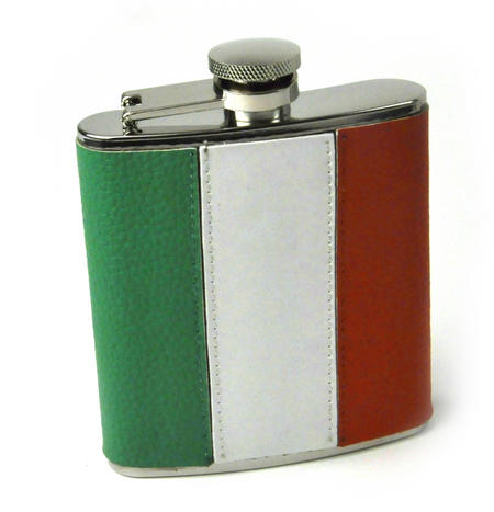 Ireland Flag Deluxe Leather Irish Hip Flask