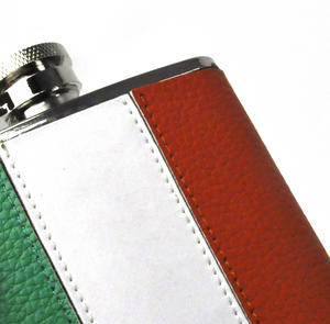 Ireland Flag Deluxe Leather Irish Hip Flask Thumbnail 2