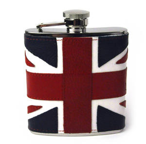 British Flag Deluxe Leather Britain Hip Flask Thumbnail 1