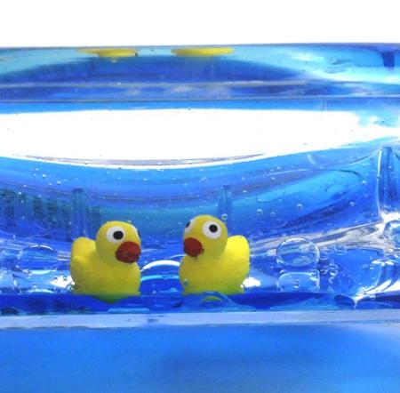 Ducks Soap Dish - Blue Liquid in Transparent Acrylic