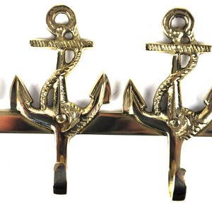 Nautical Anchor Three Brass Hooks Thumbnail 3
