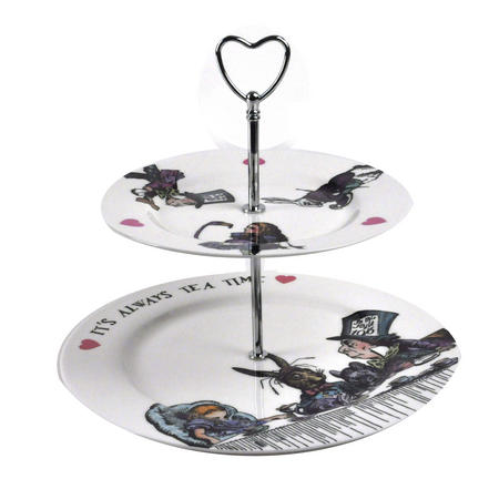 Alice In Wonderland 'It's Always Tea Time' Fine Porcelain Cake Stand