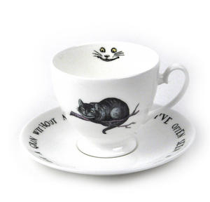 Alice In Wonderland Fine Porcelain Cheshire Cat Tea Cup and Saucer - 'We're All Mad Here' Thumbnail 1