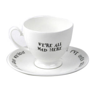Alice In Wonderland Fine Porcelain Cheshire Cat Tea Cup and Saucer - 'We're All Mad Here' Thumbnail 3