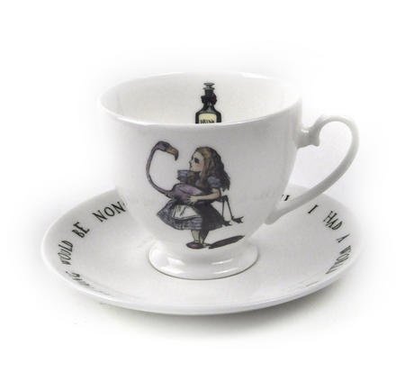 Alice In Wonderland Fine Porcelain Alice Tea Cup and Saucer - 'Curiouser and Curiouser'