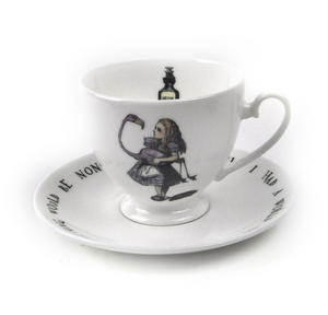 Alice In Wonderland Fine Porcelain Alice Tea Cup and Saucer - 'Curiouser and Curiouser' Thumbnail 1