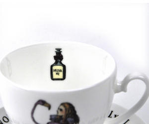 Alice In Wonderland Fine Porcelain Alice Tea Cup and Saucer - 'Curiouser and Curiouser' Thumbnail 2