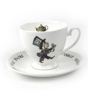 Alice In Wonderland Fine Porcelain Mad Hatter Tea Cup and Saucer - 'Mustard? Don't Let's Be Silly' Thumbnail 1