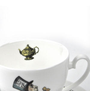 Alice In Wonderland Fine Porcelain Mad Hatter Tea Cup and Saucer - 'Mustard? Don't Let's Be Silly' Thumbnail 4