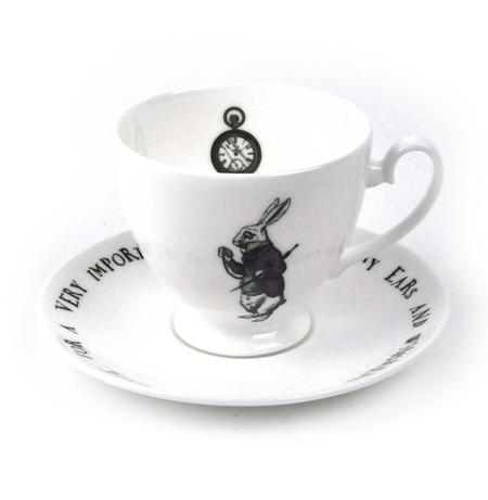 Alice In Wonderland Fine Porcelain White Rabbit Tea Cup and Saucer - 'Oh My Ears and Whiskers'