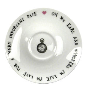 Alice In Wonderland Fine Porcelain White Rabbit Tea Cup and Saucer - 'Oh My Ears and Whiskers' Thumbnail 2