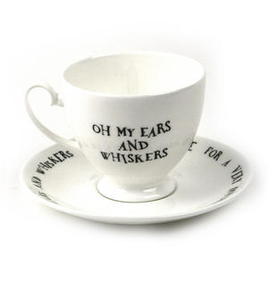 Alice In Wonderland Fine Porcelain White Rabbit Tea Cup and Saucer - 'Oh My Ears and Whiskers' Thumbnail 3
