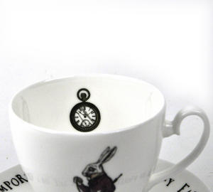 Alice In Wonderland Fine Porcelain White Rabbit Tea Cup and Saucer - 'Oh My Ears and Whiskers' Thumbnail 4