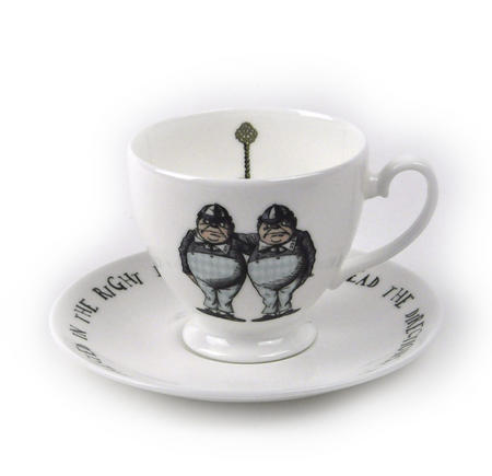 Alice In Wonderland Fine Porcelain Tweedledee and Tweedledum Tea Cup and Saucer - 'If it were, so it might be'