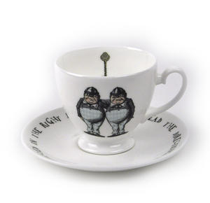 Alice In Wonderland Fine Porcelain Tweedledee and Tweedledum Tea Cup and Saucer - 'If it were, so it might be' Thumbnail 1