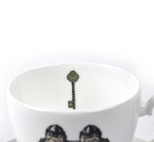 Alice In Wonderland Fine Porcelain Tweedledee and Tweedledum Tea Cup and Saucer - 'If it were, so it might be' Thumbnail 4