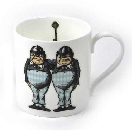 Alice In Wonderland Fine Porcelain Tweedledee and Tweedledum Mug - 'If it were, so it might be'