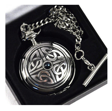 Celtic Square Knot with Gemstone Pocket Watch
