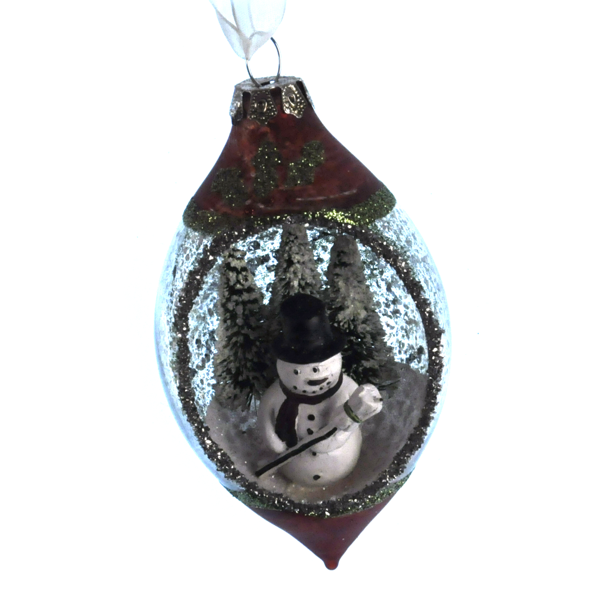 Nostalgia glass olive snowman christmas tree decoration for Bacon christmas tree decoration
