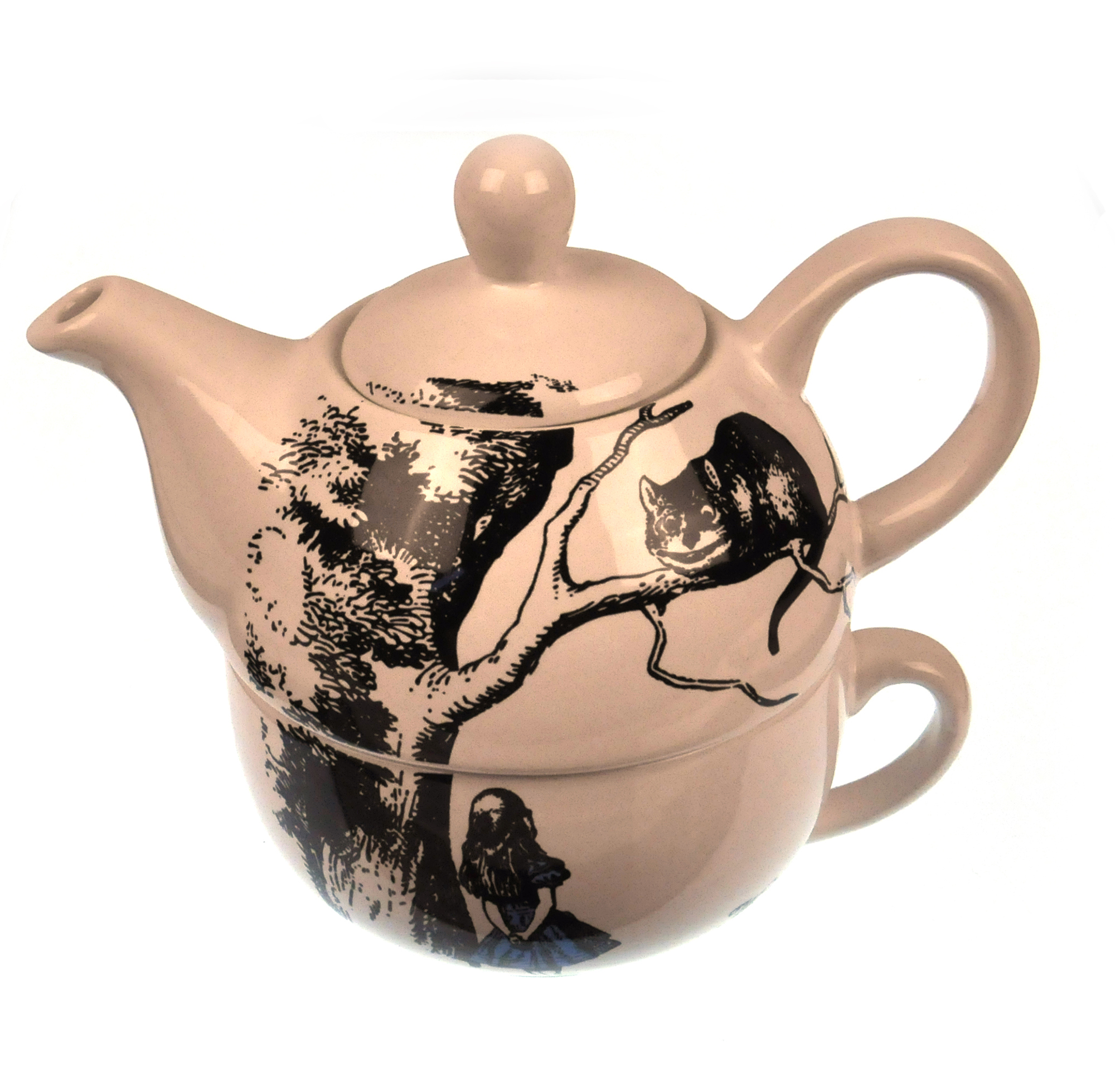 alice in wonderland tea for one teapot and cup set pink cat shop. Black Bedroom Furniture Sets. Home Design Ideas