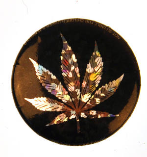 Weed Leaf Badge - Holographic Thumbnail 1