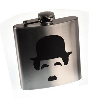 Charlie Chaplin Moustache Hip Flask Thumbnail 1