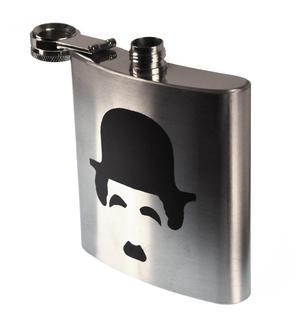 Charlie Chaplin Moustache Hip Flask Thumbnail 2