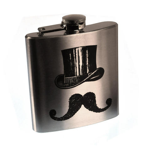 Victorian Moustache Hip Flask