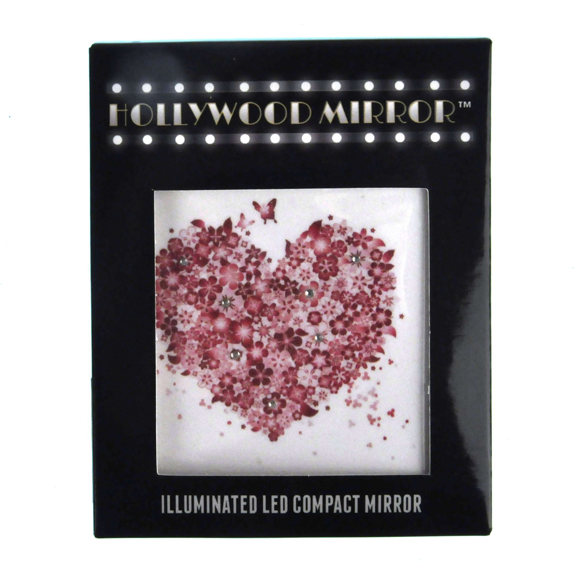Pink Butterflies And Flowers Heart Light Up Led Compact