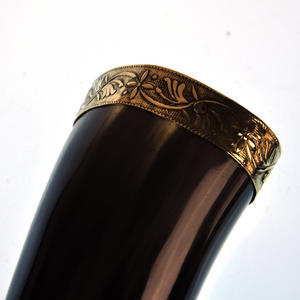 "Brass Rim Drinking Horn - Bull Horn with Holster - 9"" / 20cm Thumbnail 3"
