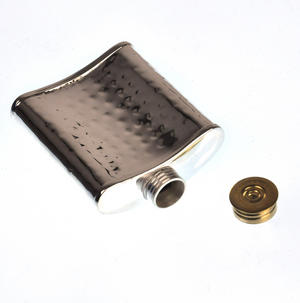 100ml Hammered Silver Plate Hip Flask Thumbnail 4
