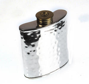 100ml Hammered Silver Plate Hip Flask Thumbnail 6