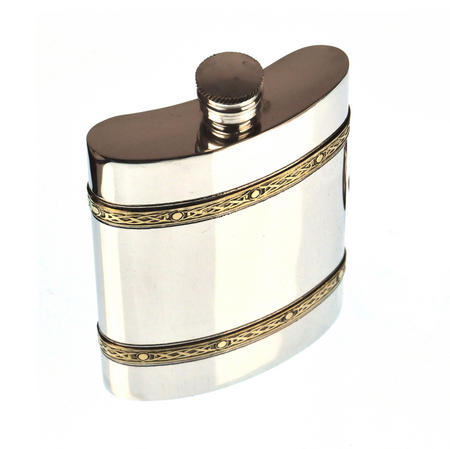 Celtic Knots Double Band Hip Flask Set - 6oz