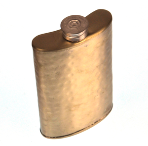 150ml Large Hammered Matt Gold Hip Flask Thumbnail 1