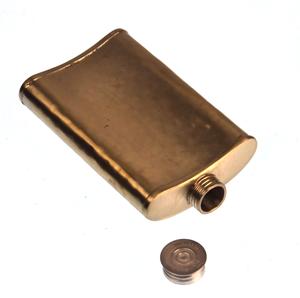 150ml Large Hammered Matt Gold Hip Flask Thumbnail 2