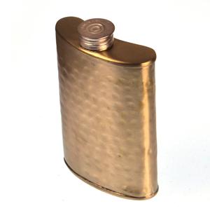 150ml Large Hammered Matt Gold Hip Flask Thumbnail 3