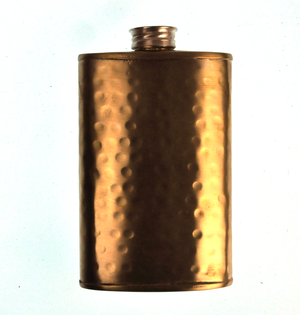 150ml Large Hammered Matt Gold Hip Flask Thumbnail 4