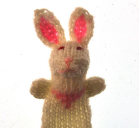Rabbit - Handmade Finger Puppet from Peru