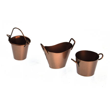 Trio of Fairy Copper Coloured Buckets - Fiddlehead Fairy Garden Collection