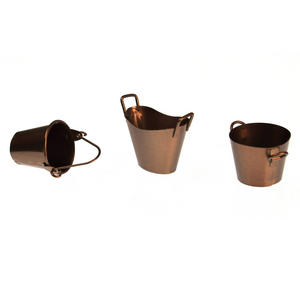 Trio of Fairy Copper Coloured Buckets - Fiddlehead Fairy Garden Collection Thumbnail 2