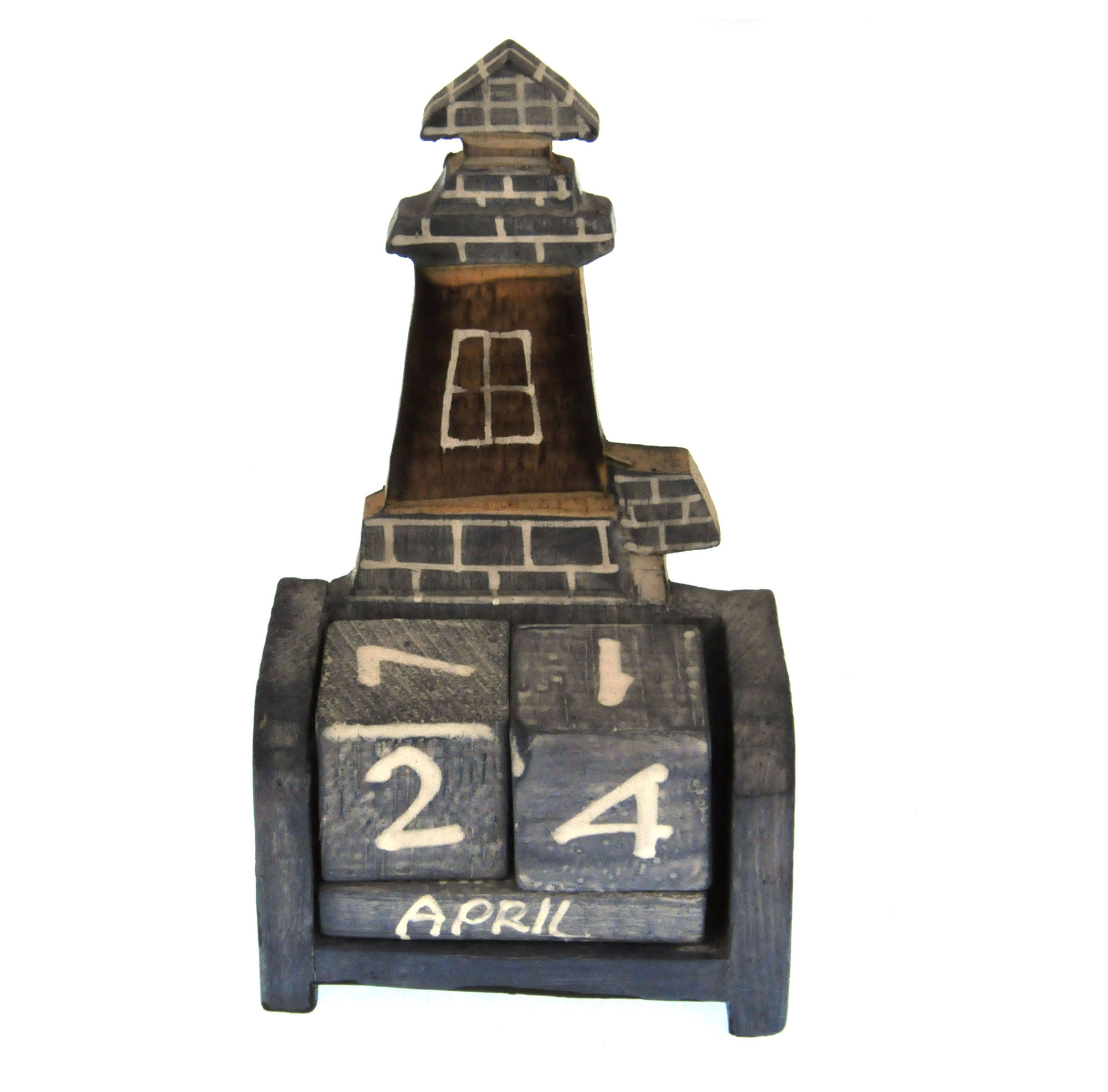 Lighthouse Wooden Block Calendar | Pink Cat Shop