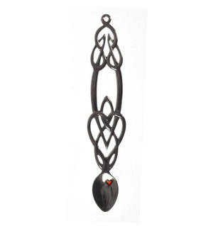 Celtic Knot Red Heart Cloisonné Large Lovespoon - Everlasting Welsh Love Spoon Forged in Pewter Thumbnail 1