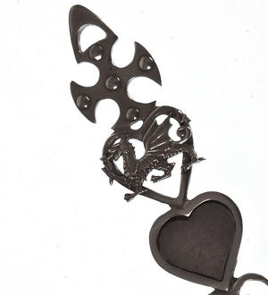 Cross Dragon Slate Heart Horseshoe Large Lovespoon - Everlasting Welsh Love Spoon Forged in Pewter Thumbnail 5