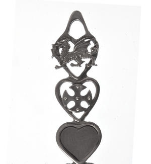 Dragon Cross Slate Heart Horseshoe Bells Large Lovespoon - Everlasting Welsh Love Spoon Forged in Pewter Thumbnail 3