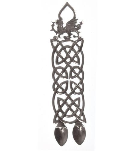 Neverending Twin Spoon Dragon Celtic Knot Lovespoon - Everlasting Welsh Love Spoon Forged in Pewter