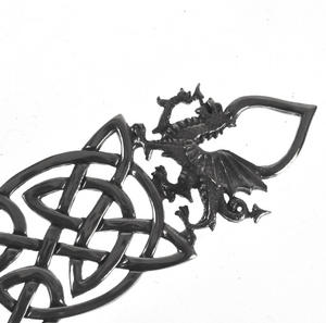 Neverending Twin Spoon Dragon Celtic Knot Lovespoon - Everlasting Welsh Love Spoon Forged in Pewter Thumbnail 2